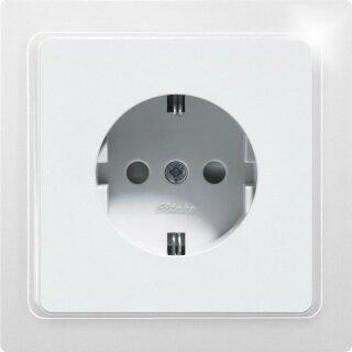 Schutzkontakt-Steckdose mit Oberteil reinweiß glänzend DSS65-wg