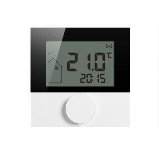 Alpha 2 Wandthermostat Funk LC-Display, weiß/schwarz mit Scheibe